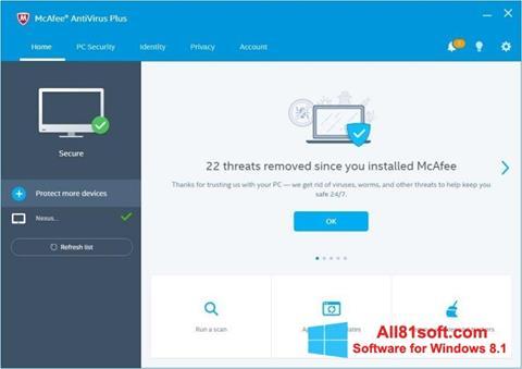 Capture d'écran McAfee AntiVirus Plus pour Windows 8.1