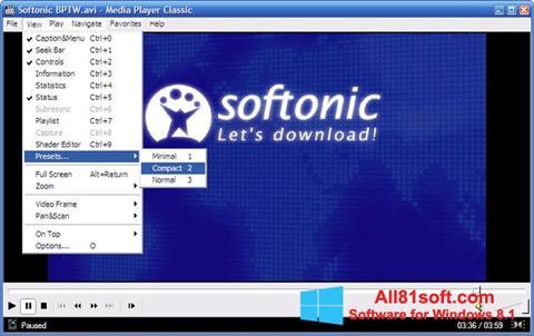 Capture d'écran Media Player Classic pour Windows 8.1