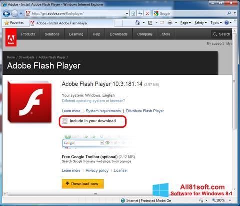 Capture d'écran Adobe Flash Player pour Windows 8.1