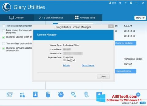 Capture d'écran Glary Utilities pour Windows 8.1