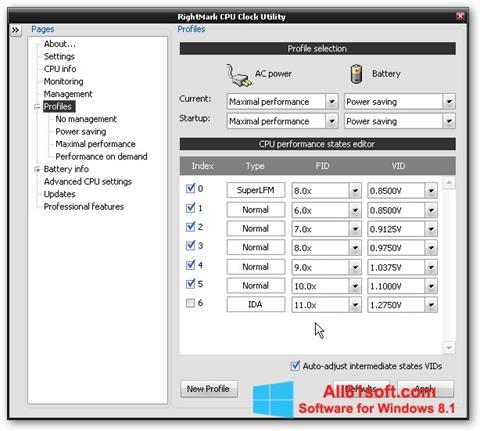 Capture d'écran RMClock pour Windows 8.1