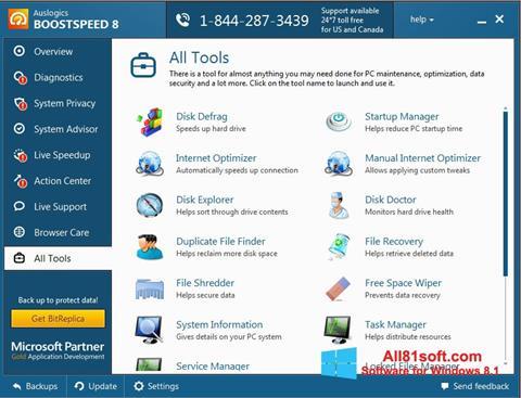 Capture d'écran Auslogics BoostSpeed pour Windows 8.1