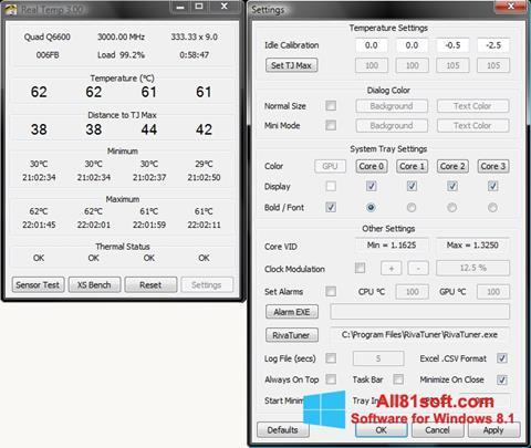 Capture d'écran Real Temp pour Windows 8.1