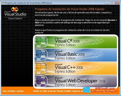 Capture d'écran Microsoft Visual Studio pour Windows 8.1