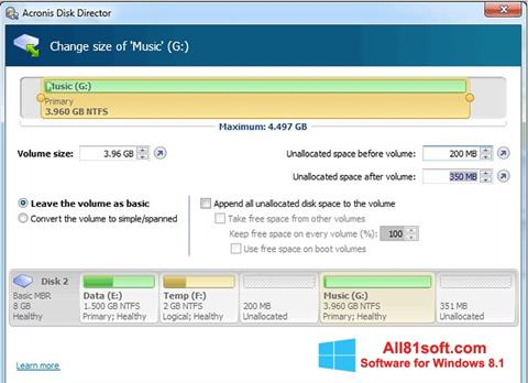 Capture d'écran Acronis Disk Director pour Windows 8.1