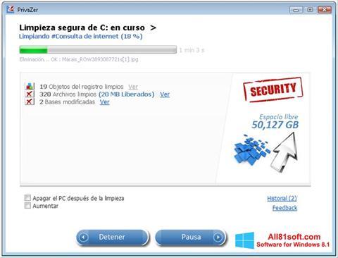 Capture d'écran PrivaZer pour Windows 8.1