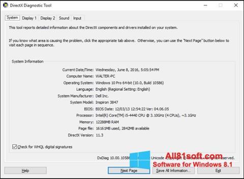 Capture d'écran DirectX pour Windows 8.1