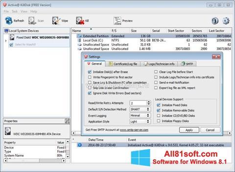 Capture d'écran Active KillDisk pour Windows 8.1