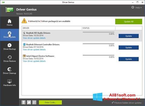 Capture d'écran Driver Genius pour Windows 8.1