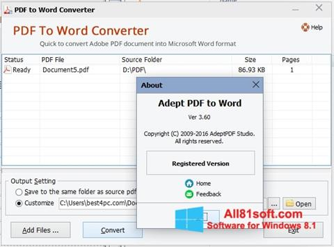 Capture d'écran PDF to Word Converter pour Windows 8.1