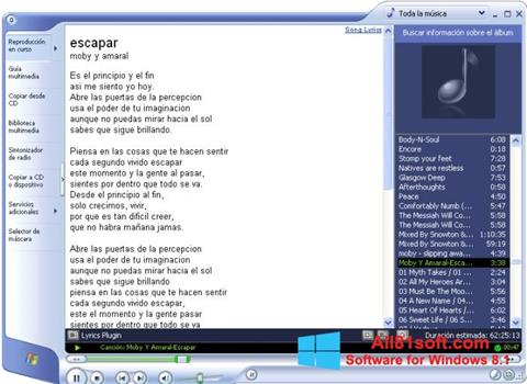 Capture d'écran Windows Media Player pour Windows 8.1