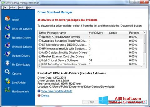 Capture d'écran Driver Genius Professional pour Windows 8.1