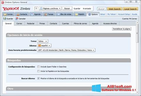 Capture d'écran Zimbra Desktop pour Windows 8.1